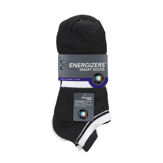 Energizers Ladies Low Cut Sport Socks - Black/White - Sizes 9-11