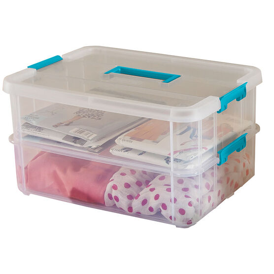 Sterilite Stack & Carry Box - 2 Layers and Handles - Clear/Blue
