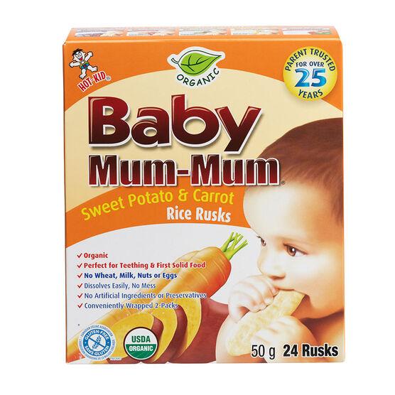 Baby Mum-Mum Organic Sweet Potato and Carrot Rice Rusks - 24 pack - 50g