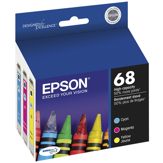 Epson Durabrite Ultra Ink 68 High-Capacity Ink Cartridge - Colour Multi-pack - T068520