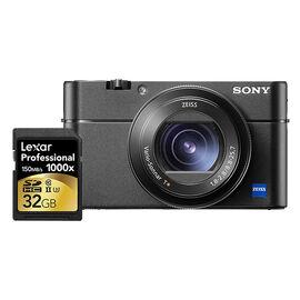 Sony Cyber-shot RX100 V with Lexar Professional 1000X 32GB SDHC Memory Card - PKG #33550
