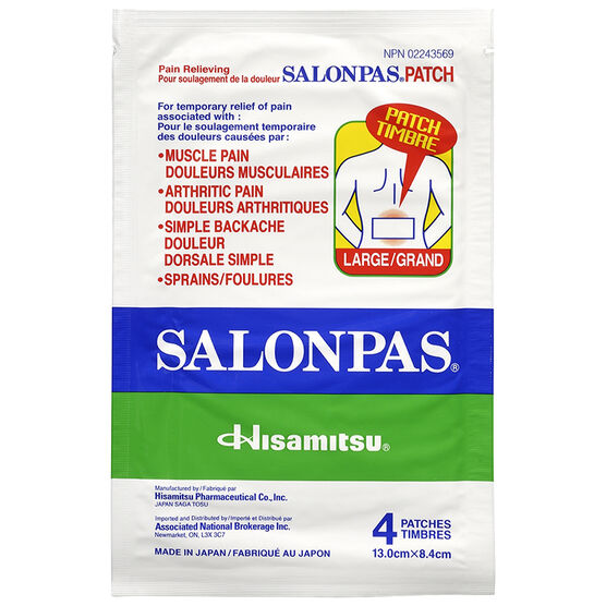 Salonpas Pain Relieving Patch - Large - 4's