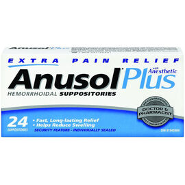 Anusol Plus Suppositories - Extra Pain Relief - 24's
