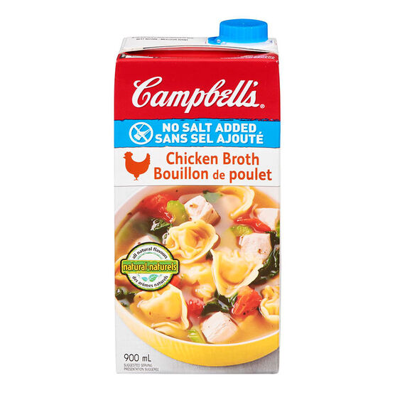 Campbell's Chicken Broth - No Salt Added - 900ml