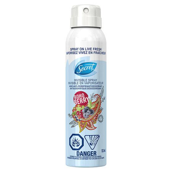 Secret Invisible Spray Anti-Perspirant & Deodorant - BoHo Berry - 132ml