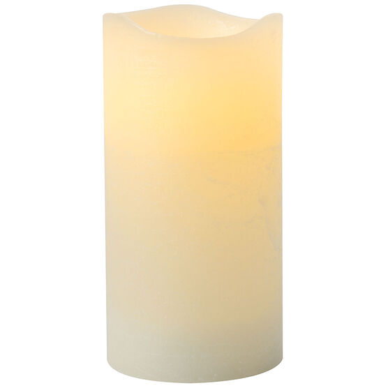 Rustic Flameless Pillar Candle - Vanilla - Cream - 3 x 6inch
