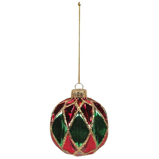 Christmas Tartan Glass Ball Ornaments - 80mm