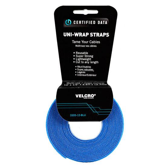Certified Data 1/2-inch Uni-Wrap Straps - 12 feet - Blue