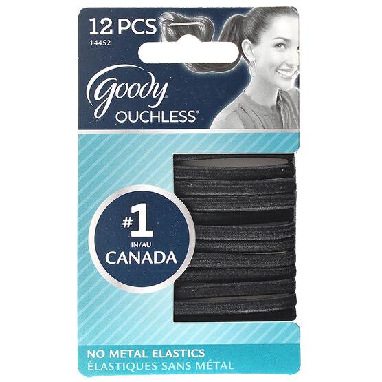 Goody Ouchless Flat Elastics - Black - 12's