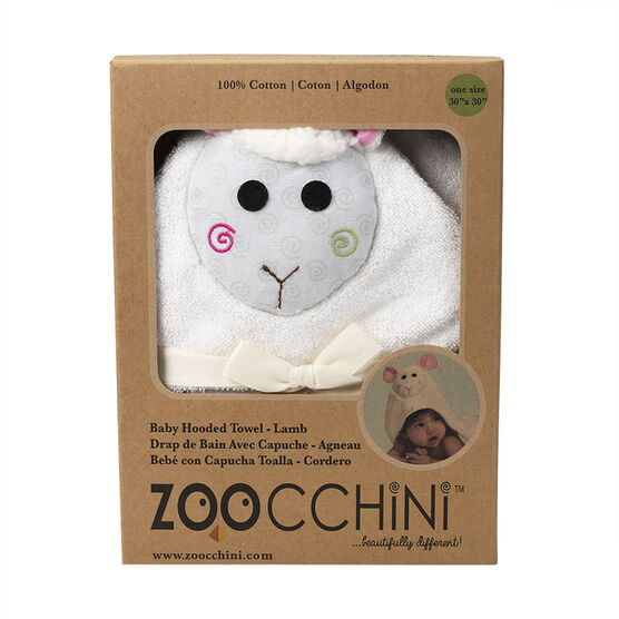 Zoocchini Baby Hooded Towel - Lola the Lamb - ZOO050