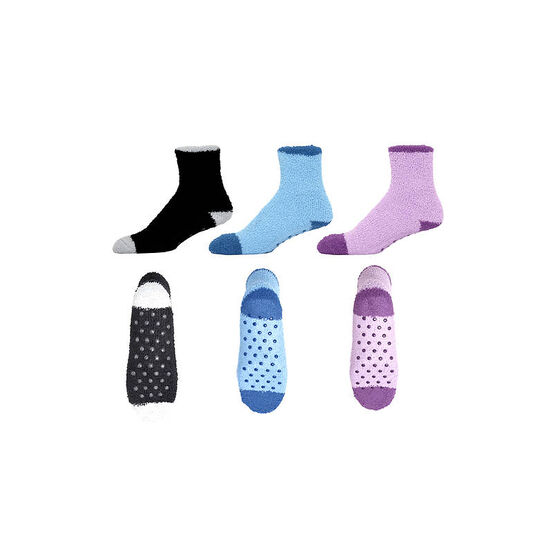 Silvert's Ladies Non-Skid Socks - Assorted Colours - 3 pair