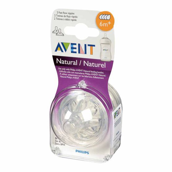 Avent Natural Bottle Nipple - Fast Flow - 2 pack