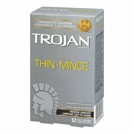Trojan Thin Lubricated Condoms - 12's