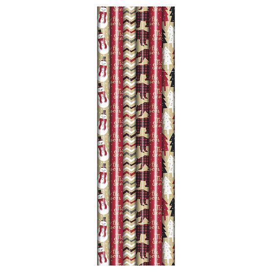 Plus Mark Kraft Gift Wrap - 30 x 144in - Assorted