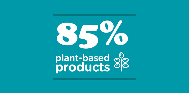 85% plant-based products
