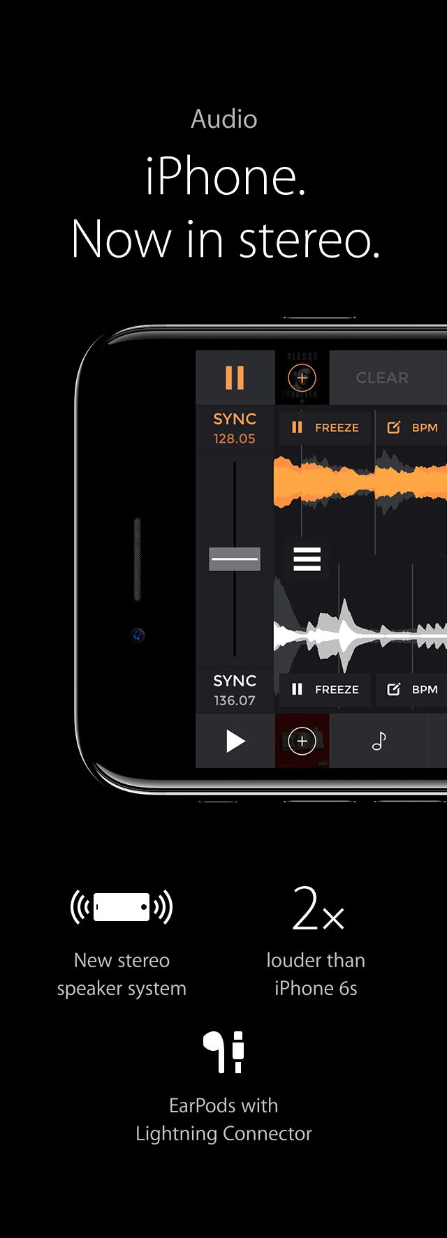 Audio - iPhone. Now in stereo.