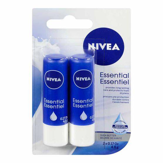 Nivea Essential Duo Pack Lip Care - 2x4.8g