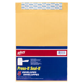 Hilroy Press It Seal It Envelopes - 9 x 12 inch - 5 pack