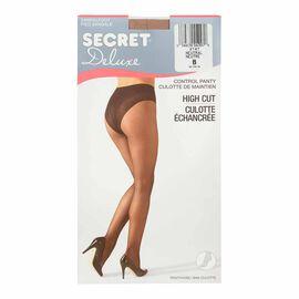 Secret Deluxe High Cut Lace Control Top Panty Hose - B - Neutral