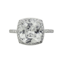Puccini Cubic Zirconia Large Cushion Centre Stone Ring - Size 7