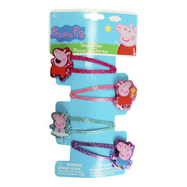 Peppa Pig Printed Glitter Snap Clips - 4 pack