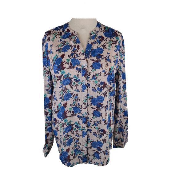 Lava Long Sleeve Print Button-up Blouse - Cadet Blue