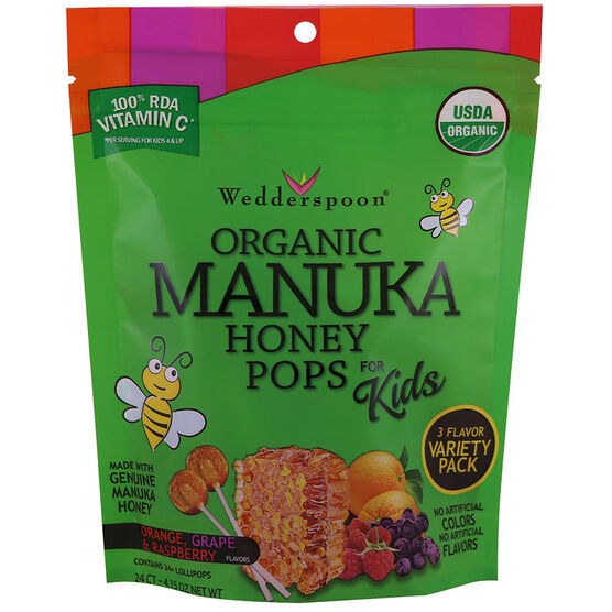Wedderspoon Organic Manuka Honey Pops for Kids - Variety - 24's