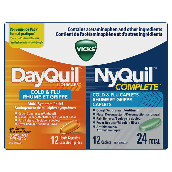 Vicks DayQuil NyQuil Cold & Flu Liquid Capsules - 12's/12's