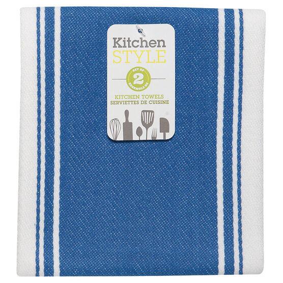 Kitchen Style Stripe Teatowel - Blue - 2 pack