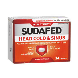 Sudafed Head Cold and Sinus Tablets - Extra Strength - 24 Pack