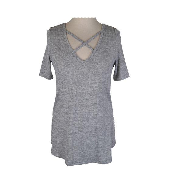 Lava Short Sleeve Knit Cross Front/Back Detail - Silver
