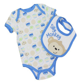 Baby Mode Silly Monkey Coverall and Bib Set - 0-9 months - Assorted