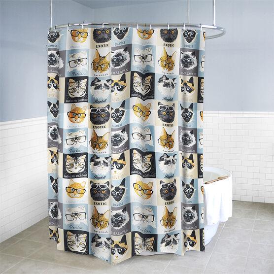 Splash Vinyl Shower Curtain - Cat/Glasses