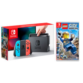 Nintendo Switch Hardware Console Red/Blue Lego City Bundle Package