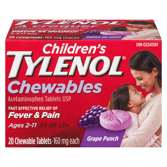 Tylenol* Children's Chewable Tablets Grape Punch - 160mg - 20's