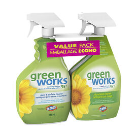 Green Works Glass & Surface Cleaner & All-Purpose Cleaner Value Pack - 2x946ml