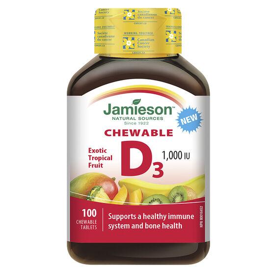 Jamieson Chewable D3 1000I U - Exotic Tropical Fruit - 100's