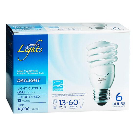 London Lights Mini Twisters CFL Bulb - Daylight - 6 pack