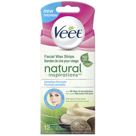 Veet Natural Inspiration Facial Wax Strips - Sensitive Formula - 12's