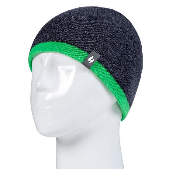 Heat Holders Boys Flat Knit Hat - Charcoal/Green