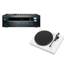 Pro-Ject Debut III Manual Turntable - White + Onkyo Stereo Receiver -PKG #17365