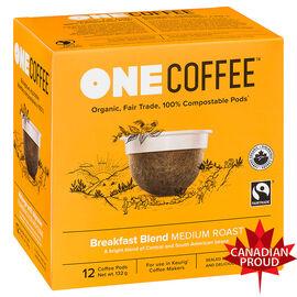 One Coffee Organic Single Serve Pods - Medium Roast Breakfast Blend - 12's