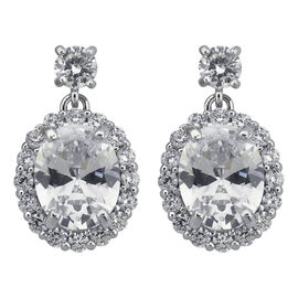 Puccini Cubic Zirconia Oval Pave Drop Earrings