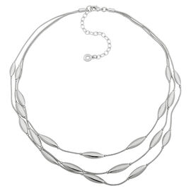 Anne Klein Oval Tri-Chain Necklace - Silver Tone