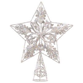Winter Wishes Star Tree Topper - 10 in - Champagne & Silver - Assorted