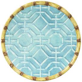 London Drugs Melamine Dinner Plate - Blue Bamboo Rim - 11in