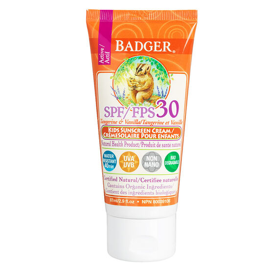 Badger Kids Active Sunscreen Cream SPF 30 - 87ml