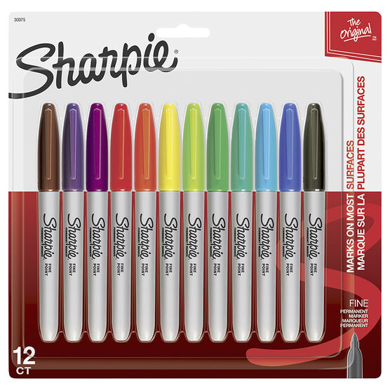 Sharpie Fine Point Permanent Markers - Assorted - 12 Pack