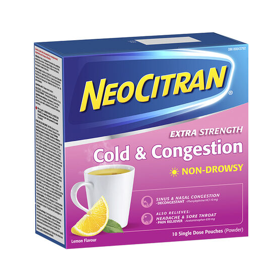 NeoCitran Extra Strength Cold & Congestion Non-Drowsy - Lemon - 10's