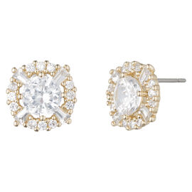 Anne Klein Crystal Stud Earrings - Gold Tone